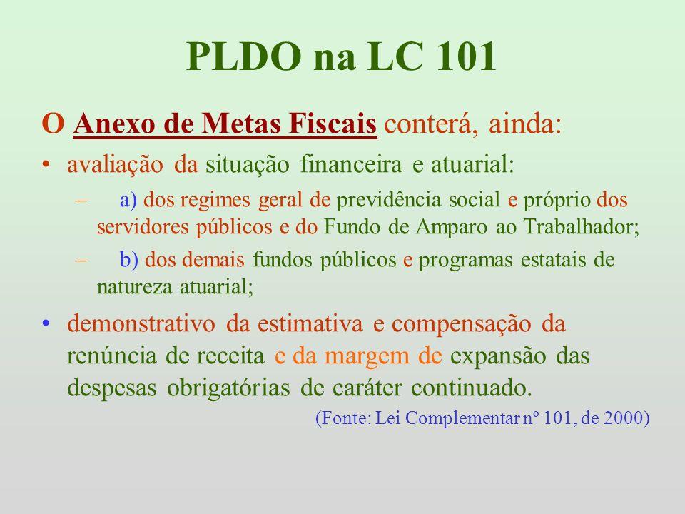 PLDO na LC 101 O Anexo de Metas Fiscais conterá, ainda: avaliação da situação financeira e atuarial: – a) dos regimes geral de previdência social e pr