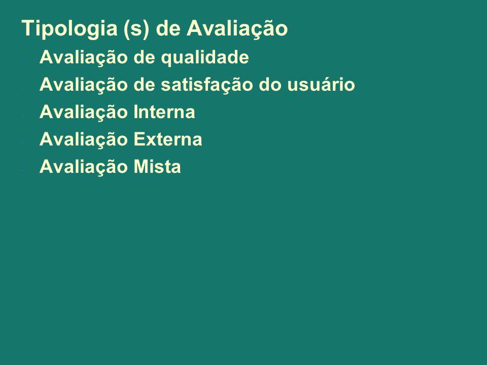 Tipologia (s) de Avaliação - Avaliação de qualidade - Avaliação de satisfação do usuário - Avaliação Interna - Avaliação Externa - Avaliação Mista