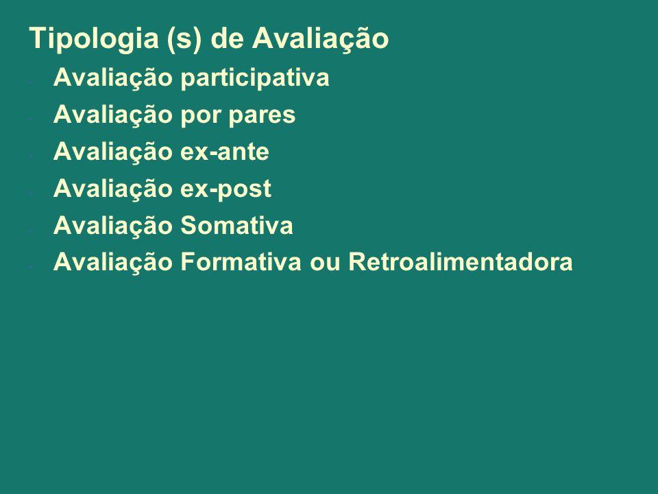 Tipologia (s) de Avaliação - Avaliação participativa - Avaliação por pares - Avaliação ex-ante - Avaliação ex-post - Avaliação Somativa - Avaliação Fo