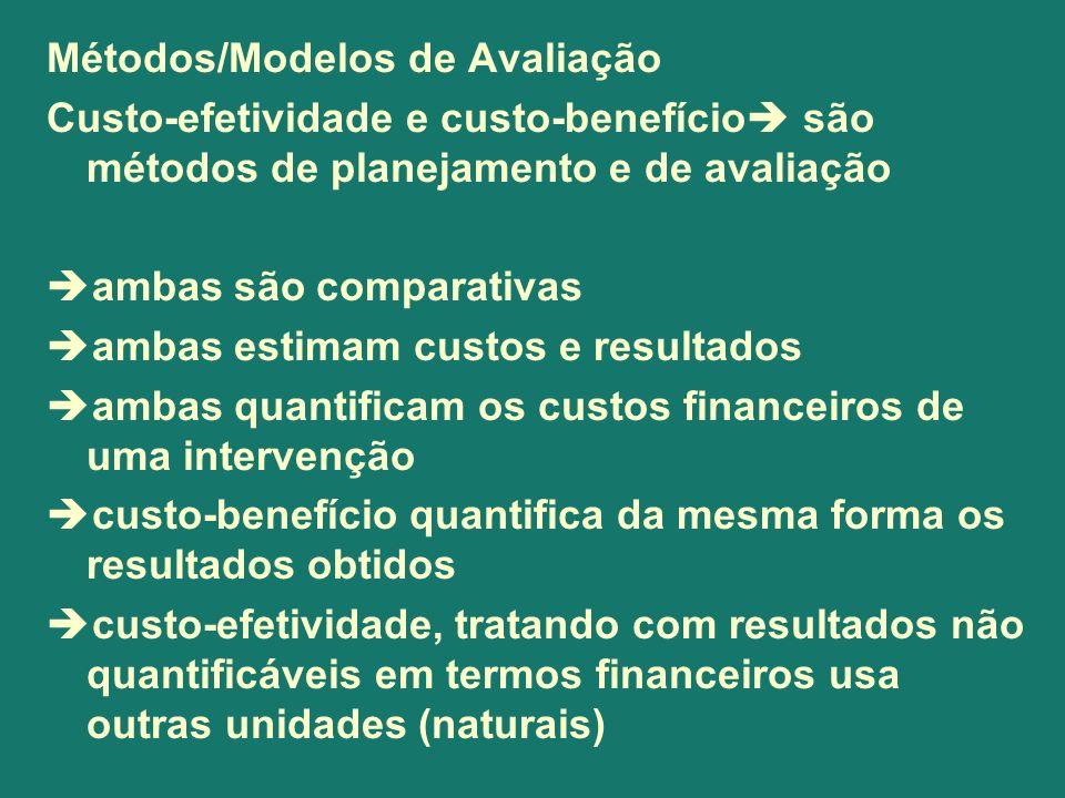 Métodos/Modelos de Avaliação Custo-efetividade e custo-benefício são métodos de planejamento e de avaliação ambas são comparativas ambas estimam custo