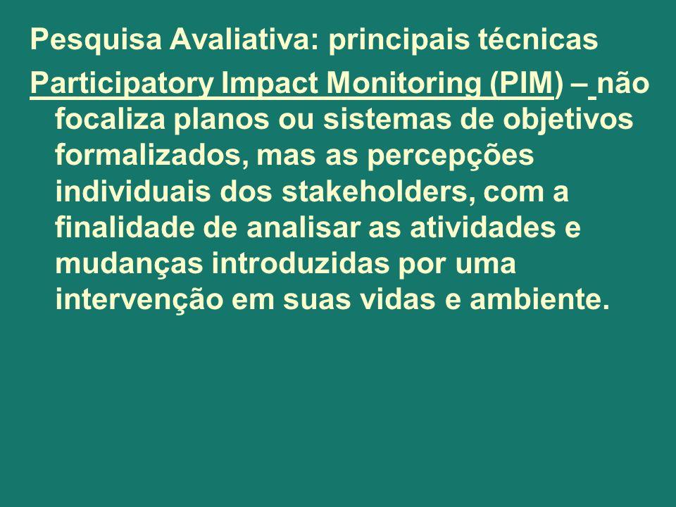 Pesquisa Avaliativa: principais técnicas Participatory Impact Monitoring (PIM) – não focaliza planos ou sistemas de objetivos formalizados, mas as per