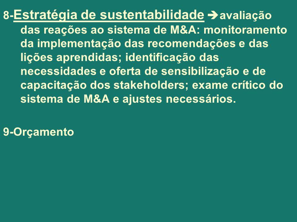 8- Estratégia de sustentabilidade avaliação das reações ao sistema de M&A: monitoramento da implementação das recomendações e das lições aprendidas; i