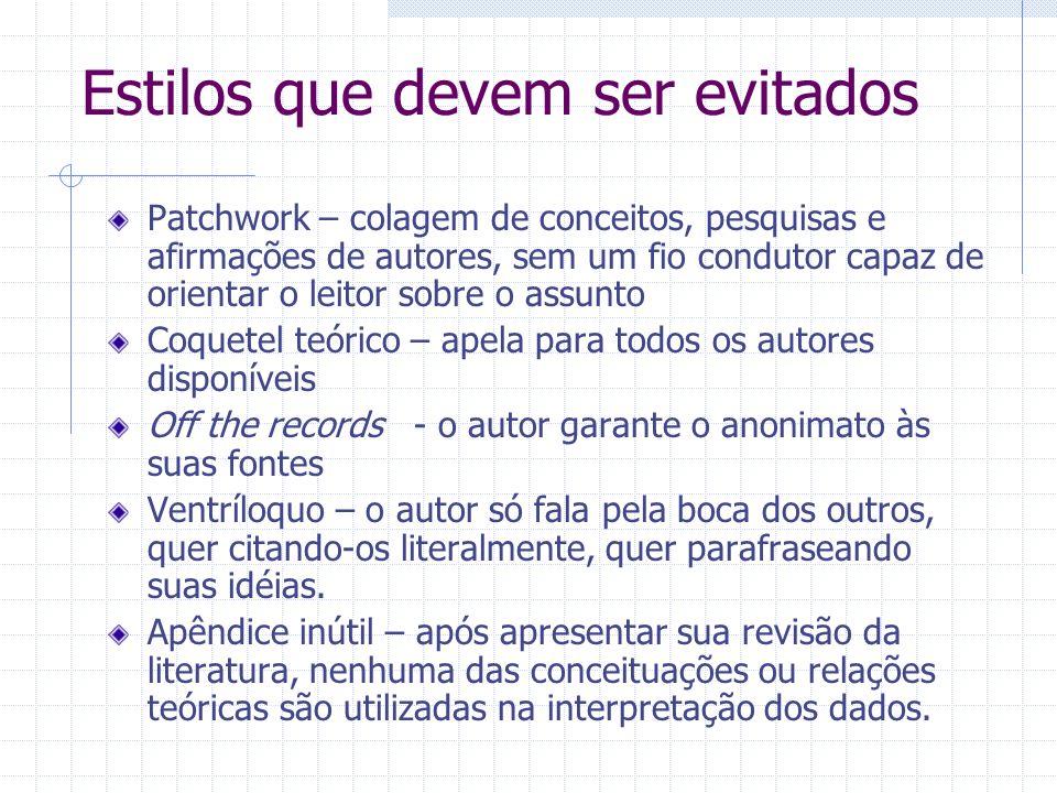Estilos que devem ser evitados Patchwork – colagem de conceitos, pesquisas e afirmações de autores, sem um fio condutor capaz de orientar o leitor sob