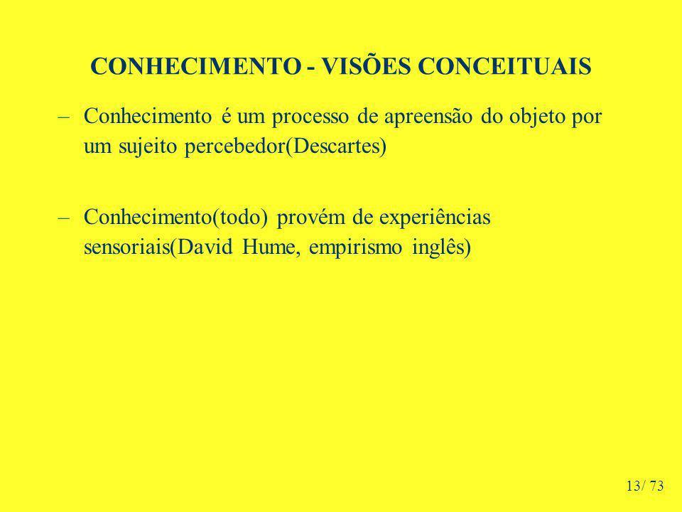 CONHECIMENTO - VISÕES CONCEITUAIS –Conhecimento é um processo de apreensão do objeto por um sujeito percebedor(Descartes) –Conhecimento(todo) provém de experiências sensoriais(David Hume, empirismo inglês) 13/ 73