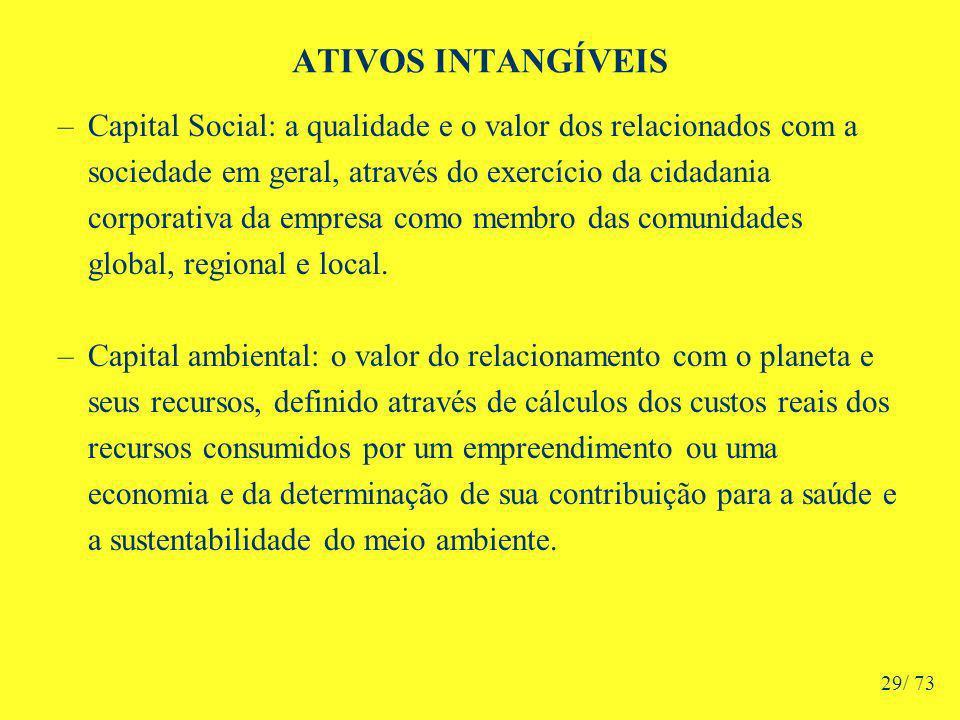 ATIVOS INTANGÍVEIS –Capital Social: a qualidade e o valor dos relacionados com a sociedade em geral, através do exercício da cidadania corporativa da empresa como membro das comunidades global, regional e local.