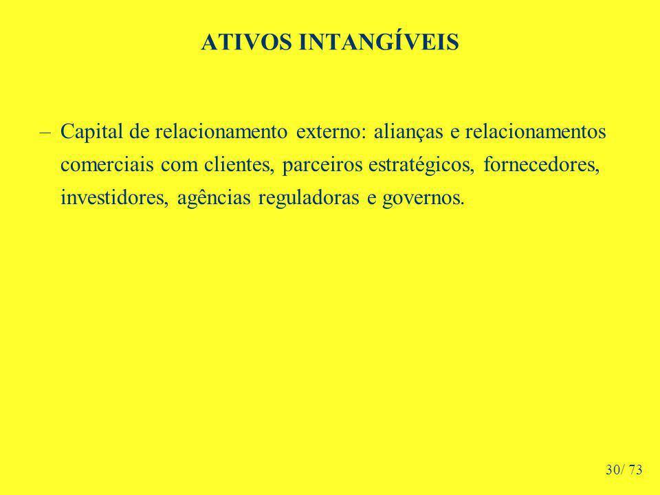 ATIVOS INTANGÍVEIS –Capital de relacionamento externo: alianças e relacionamentos comerciais com clientes, parceiros estratégicos, fornecedores, investidores, agências reguladoras e governos.