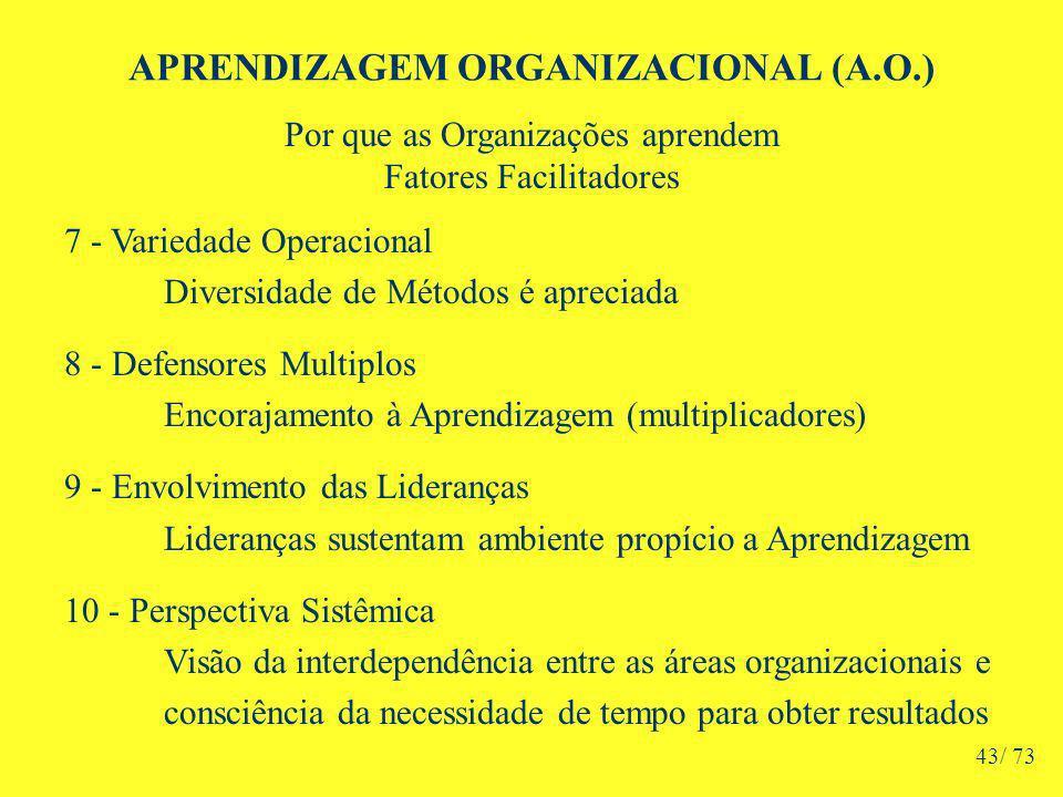 APRENDIZAGEM ORGANIZACIONAL (A.O.) Por que as Organizações aprendem Fatores Facilitadores 7 - Variedade Operacional Diversidade de Métodos é apreciada 8 - Defensores Multiplos Encorajamento à Aprendizagem (multiplicadores) 9 - Envolvimento das Lideranças Lideranças sustentam ambiente propício a Aprendizagem 10 - Perspectiva Sistêmica Visão da interdependência entre as áreas organizacionais e consciência da necessidade de tempo para obter resultados 43/ 73