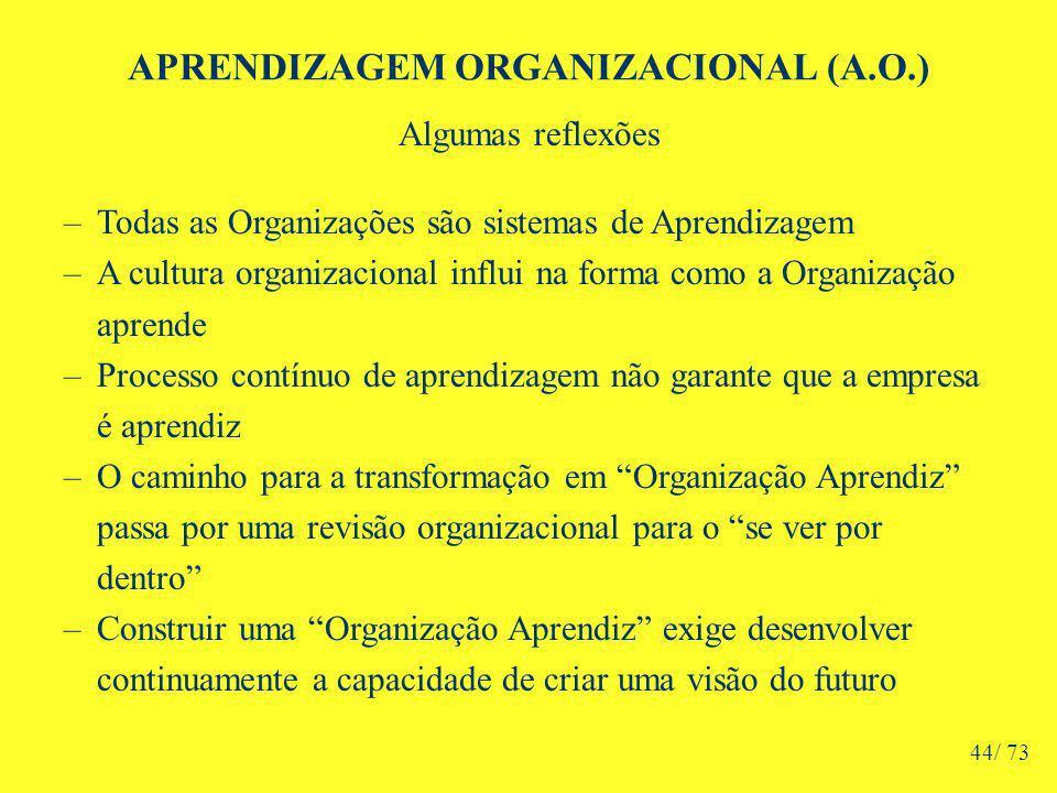 APRENDIZAGEM ORGANIZACIONAL (A.O.) Algumas reflexões –Todas as Organizações são sistemas de Aprendizagem –A cultura organizacional influi na forma como a Organização aprende –Processo contínuo de aprendizagem não garante que a empresa é aprendiz –O caminho para a transformação em Organização Aprendiz passa por uma revisão organizacional para o se ver por dentro –Construir uma Organização Aprendiz exige desenvolver continuamente a capacidade de criar uma visão do futuro 44/ 73