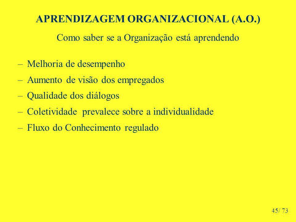 APRENDIZAGEM ORGANIZACIONAL (A.O.) Como saber se a Organização está aprendendo –Melhoria de desempenho –Aumento de visão dos empregados –Qualidade dos diálogos –Coletividade prevalece sobre a individualidade –Fluxo do Conhecimento regulado 45/ 73