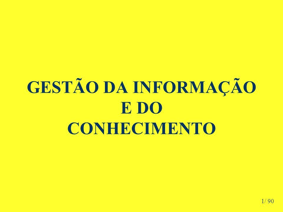 GESTÃO DA INFORMAÇÃO E DO CONHECIMENTO ÍNDICE 1) Conceituações Iniciais –Evolução DADO - INFORMAÇÕES - CONHECIMENTO 2) Informação –Sistemas de Informação –Impactos –O que devem oferecer –Cuidados –Gestão 3) O Conhecimento –Visões Conceituais –Conhecimento x Percepção –Histórico –Origens –Geração –Tipos –Criação –Conversão 2/ 90