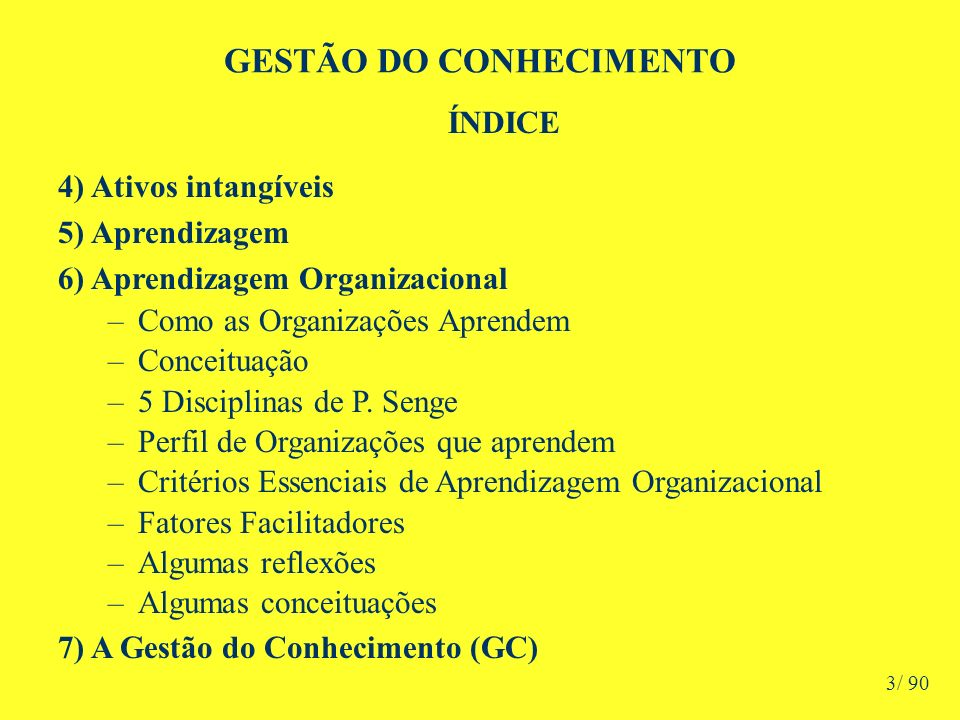 GESTÃO DO CONHECIMENTO ÍNDICE 8) A GC no Ambiente Organizacional –Objetivos –O Projeto GC Passos Campanha de Disseminação A Gestão do Projeto de GC –Os Agentes Principais 9) Resultantes das Práticas de GC 10) Diagrama da GC nas Organizações 11) Gestão Estratégica da GC nas Organizações 12) Avaliação de Resultados da GC 4/ 90