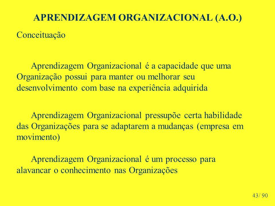 APRENDIZAGEM ORGANIZACIONAL (A.O.) Aprendizagem Organizacional é a capacidade que uma Organização possui para manter ou melhorar seu desenvolvimento com base na experiência adquirida Aprendizagem Organizacional pressupõe certa habilidade das Organizações para se adaptarem a mudanças (empresa em movimento) Aprendizagem Organizacional é um processo para alavancar o conhecimento nas Organizações Conceituação 43/ 90