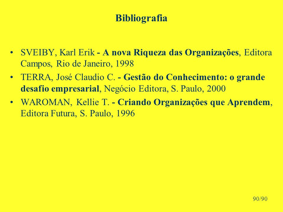 Bibliografia SVEIBY, Karl Erik - A nova Riqueza das Organizações, Editora Campos, Rio de Janeiro, 1998 TERRA, José Claudio C.