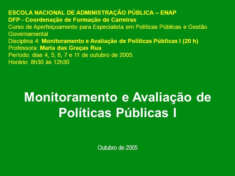 Monitoramento e Avaliação de Políticas Públicas I Outubro de 2005 ESCOLA NACIONAL DE ADMINISTRAÇÃO PÚBLICA – ENAP DFP - Coordenação de Formação de Carreiras Curso de Aperfeiçoamento para Especialista em Políticas Públicas e Gestão Governamental Disciplina 4: Monitoramento e Avaliação de Políticas Públicas I (20 h) Professora: Maria das Graças Rua Período: dias 4, 5, 6, 7 e 11 de outubro de 2005.