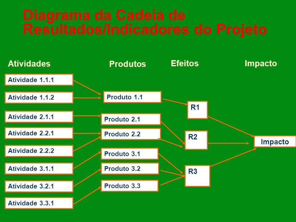 Diagrama da Cadeia de Resultados/Indicadores do Projeto Atividade 3.1.1 3 Atividade 2.2.2 Atividade 3.2.1 Atividade 2.2.1 Atividade 3.3.1 Atividade 1.1.1 Atividade 1.1.2 Atividade 2.1.1 Produto 3.3 Produto 3.1 Produto 3.2 Produto 2.2 Produto 2.1 Produto 1.1 R1 R3 R2 Impacto Atividades Produtos EfeitosImpacto
