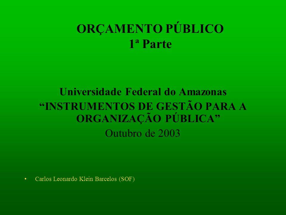ORÇAMENTO PÚBLICO 1ª Parte Universidade Federal do Amazonas INSTRUMENTOS DE GESTÃO PARA A ORGANIZAÇÃO PÚBLICA Outubro de 2003 Carlos Leonardo Klein Ba