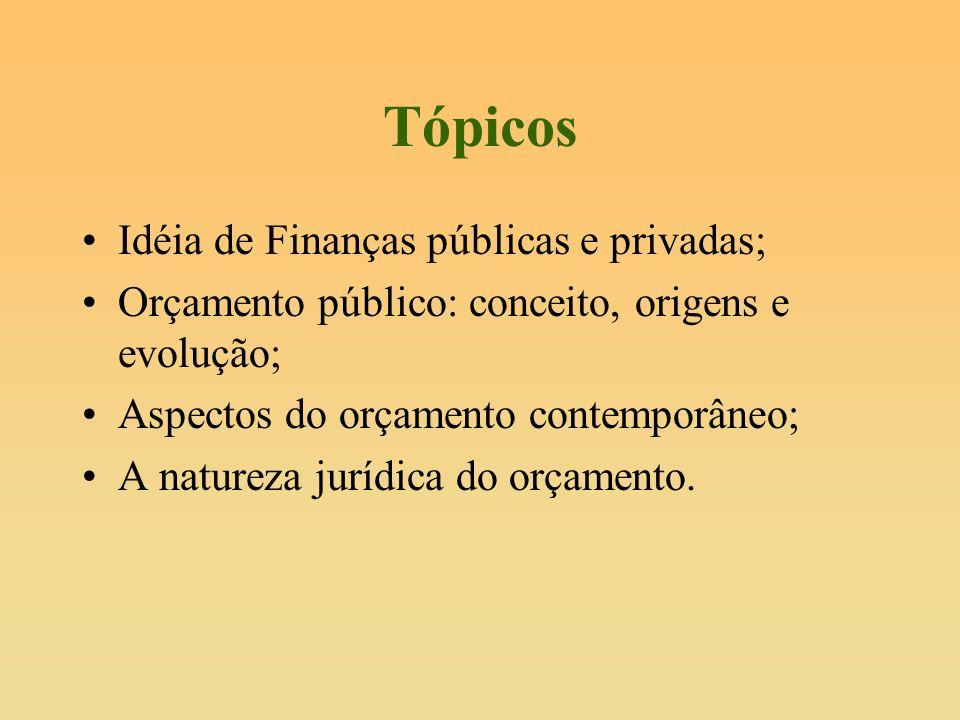 Tópicos Idéia de Finanças públicas e privadas; Orçamento público: conceito, origens e evolução; Aspectos do orçamento contemporâneo; A natureza jurídi