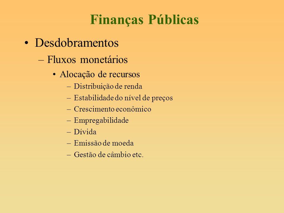 Finanças Públicas Desdobramentos –Fluxos monetários Alocação de recursos –Distribuição de renda –Estabilidade do nível de preços –Crescimento econômic