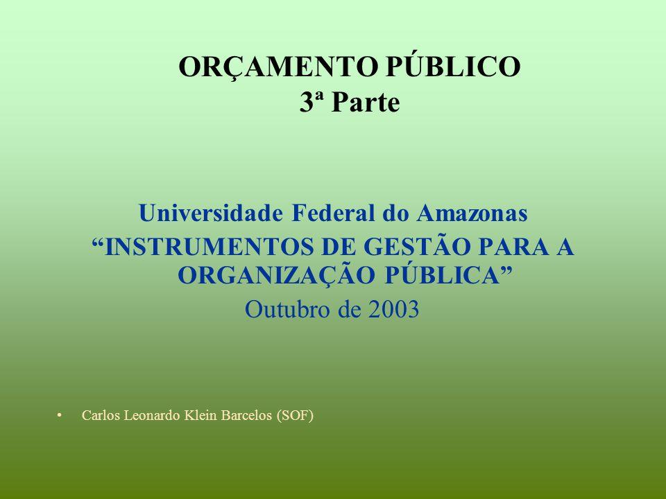 ORÇAMENTO PÚBLICO 3ª Parte Universidade Federal do Amazonas INSTRUMENTOS DE GESTÃO PARA A ORGANIZAÇÃO PÚBLICA Outubro de 2003 Carlos Leonardo Klein Barcelos (SOF)