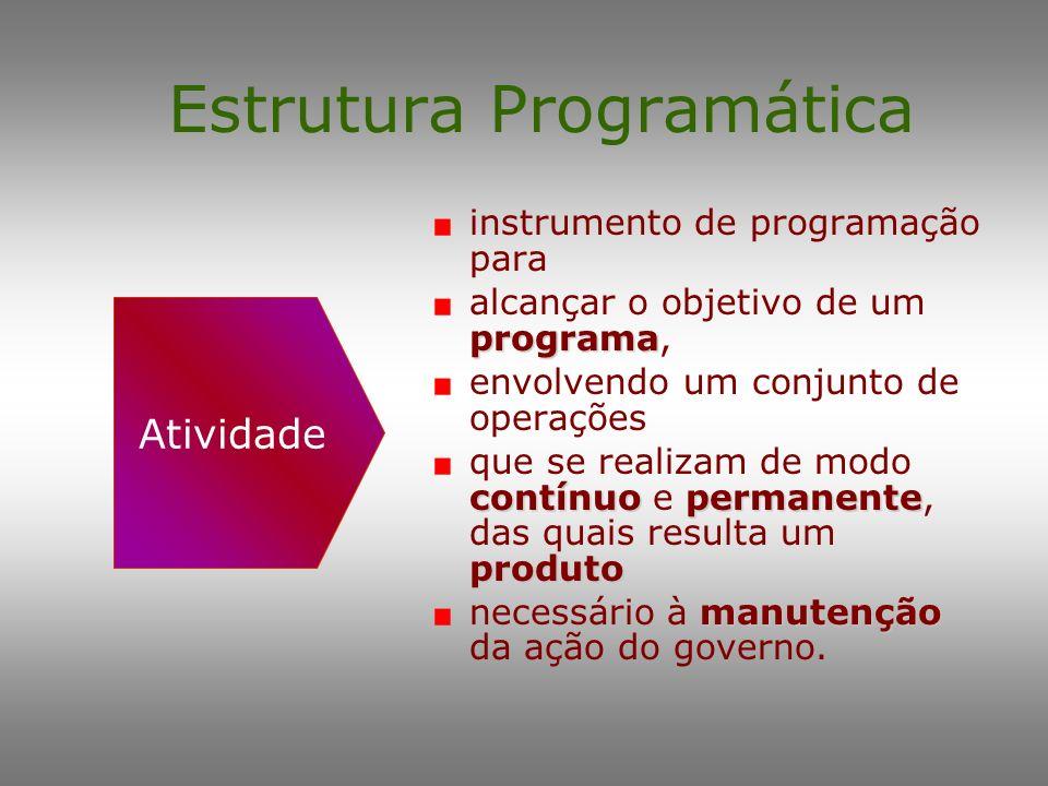 Estrutura Programática organização da ação instrumento de organização da ação governamental objetivos pretendidos visando à concretização dos objetivo