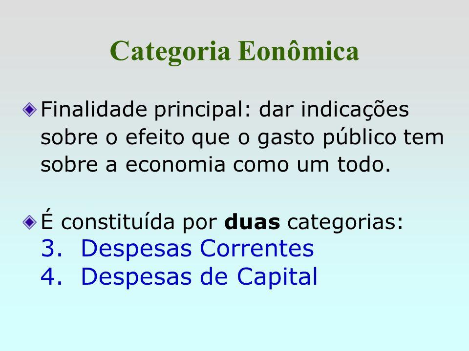 Natureza da Despesa As Categorias Econômicas, os Grupos e as Modalidades de Aplicação - aparecem na lei orçamentária. Os Elementos são utilizados na e