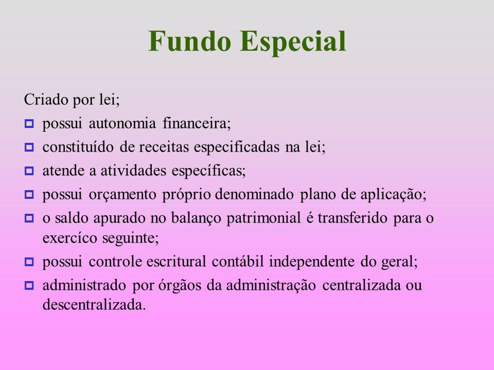 Fundo Especial Constitui Fundo Especial o produto de receitas especificadas que, por lei, se vinculam a realização de determinados objetivos e serviço