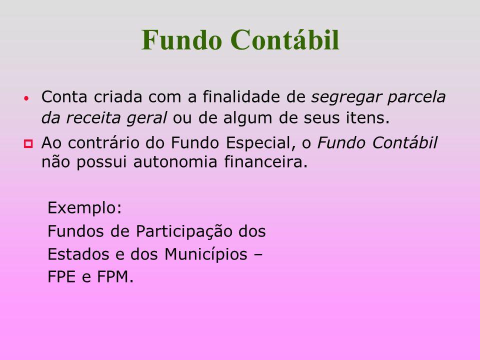Fundo Especial Criado por lei; p possui autonomia financeira; p constituído de receitas especificadas na lei; p atende a atividades específicas; p pos