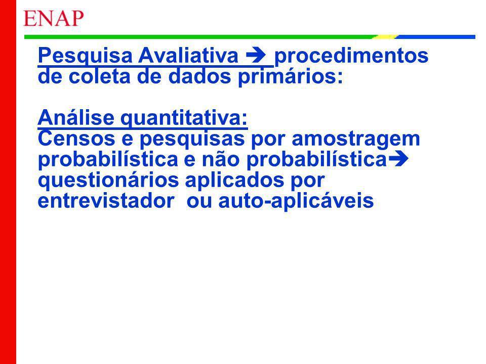 Pesquisa Avaliativa procedimentos de coleta de dados primários: Análise quantitativa: Censos e pesquisas por amostragem probabilística e não probabilí