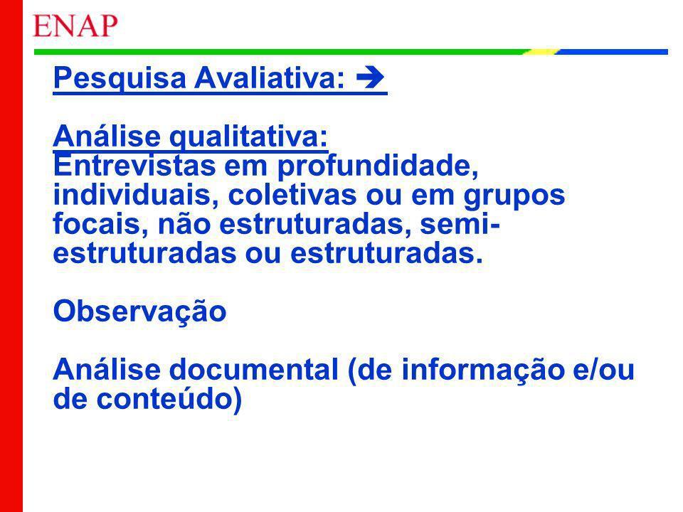 Pesquisa Avaliativa: Análise qualitativa: Entrevistas em profundidade, individuais, coletivas ou em grupos focais, não estruturadas, semi- estruturada