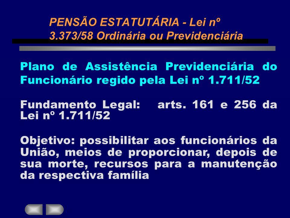 Plano de Assistência Previdenciária do Funcionário regido pela Lei nº 1.711/52 Fundamento Legal: arts. 161 e 256 da Lei nº 1.711/52 Objetivo: possibil