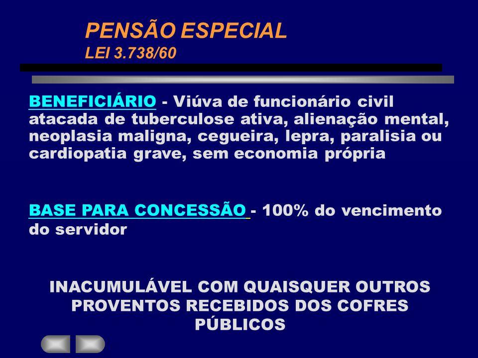 PENSÃO ESPECIAL LEI 3.738/60 BENEFICIÁRIO - Viúva de funcionário civil atacada de tuberculose ativa, alienação mental, neoplasia maligna, cegueira, le