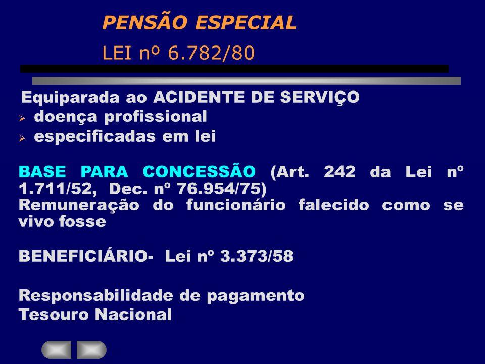 PENSÃO ESPECIAL LEI nº 6.782/80 Equiparada ao ACIDENTE DE SERVIÇO doença profissional especificadas em lei BASE PARA CONCESSÃO (Art. 242 da Lei nº 1.7