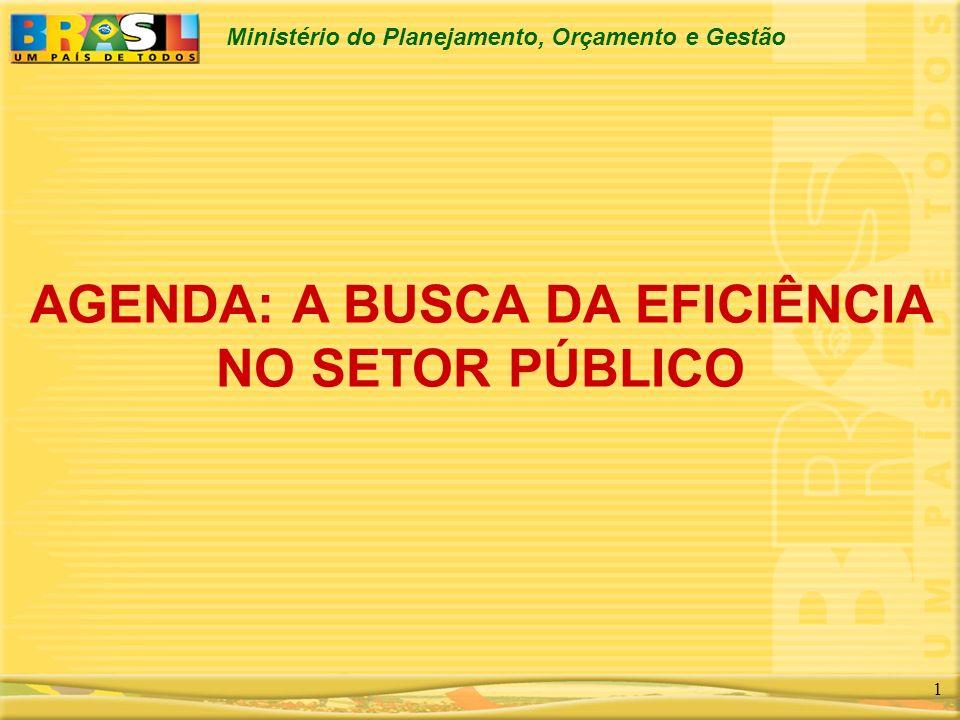 Ministério do Planejamento, Orçamento e Gestão 1 AGENDA: A BUSCA DA EFICIÊNCIA NO SETOR PÚBLICO