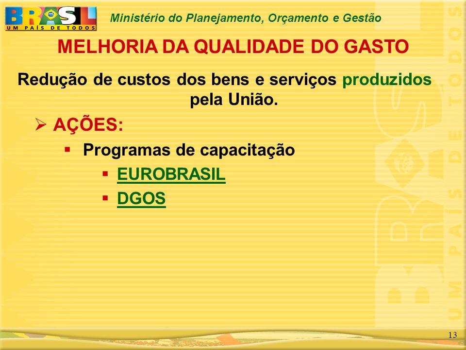 Ministério do Planejamento, Orçamento e Gestão 13 Redução de custos dos bens e serviços produzidos pela União. AÇÕES: Programas de capacitação EUROBRA