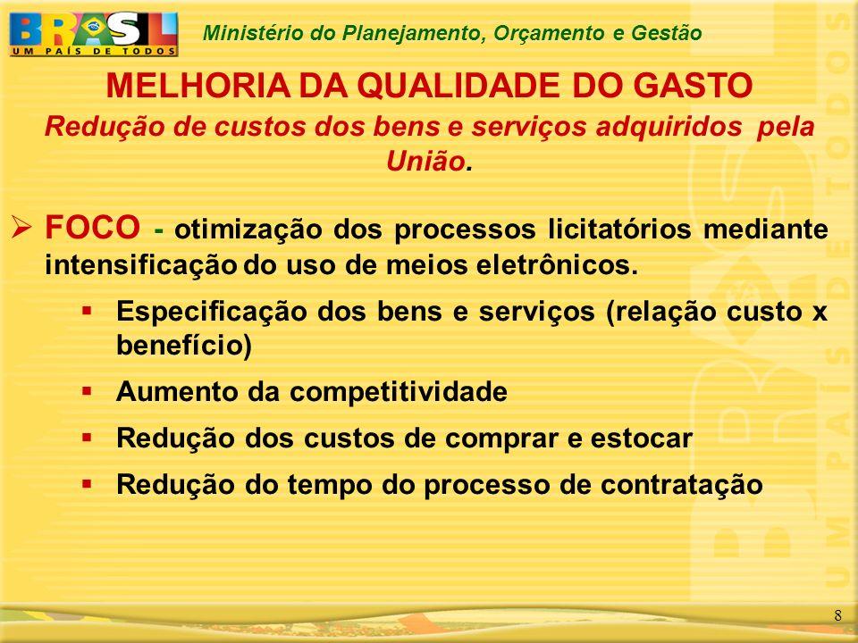 Ministério do Planejamento, Orçamento e Gestão 8 MELHORIA DA QUALIDADE DO GASTO FOCO - otimização dos processos licitatórios mediante intensificação d