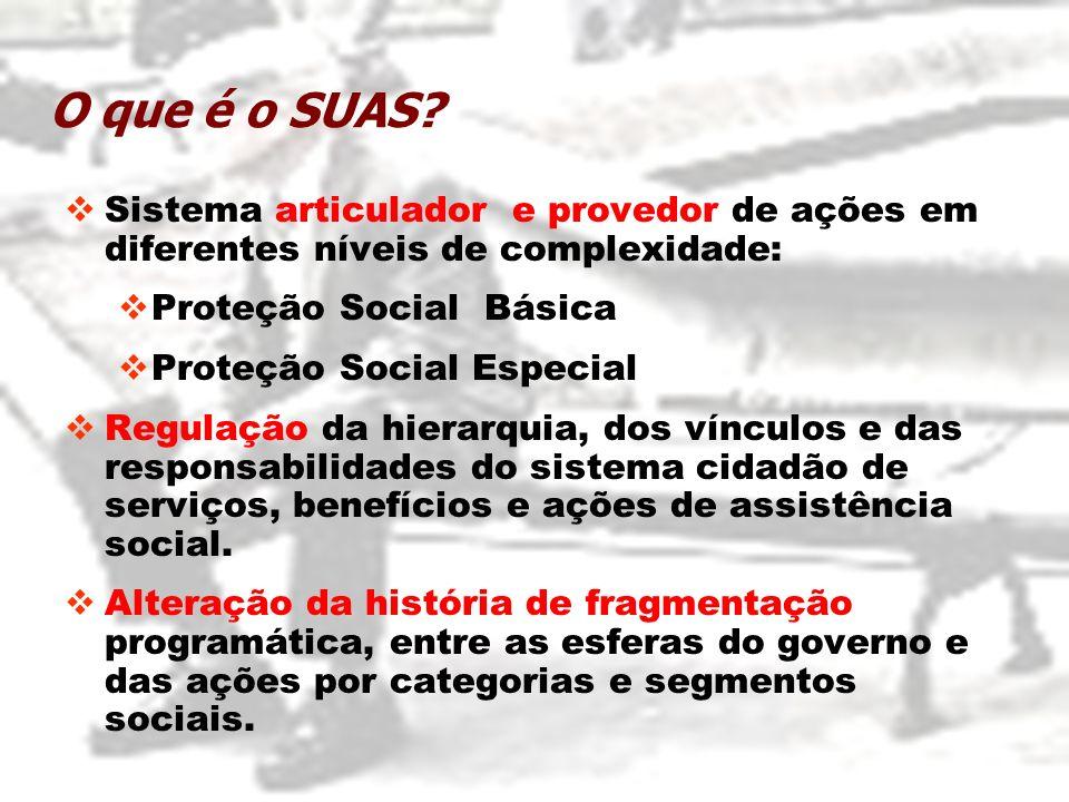 O que é o SUAS? Sistema articulador e provedor de ações em diferentes níveis de complexidade: Proteção Social Básica Proteção Social Especial Regulaçã