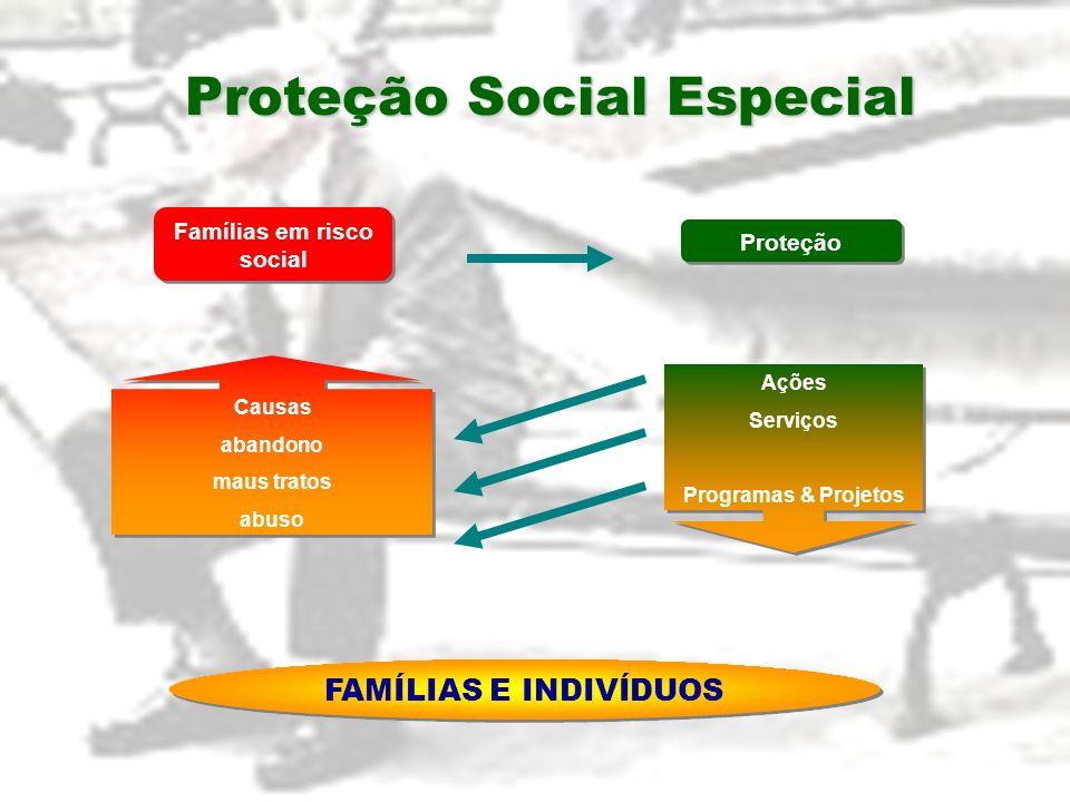 Proteção Social Especial Ações Serviços Programas & Projetos Ações Serviços Programas & Projetos Famílias em risco social Causas abandono maus tratos