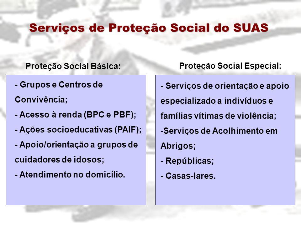Proteção Social Básica: Proteção Social Especial: - Grupos e Centros de Convivência; - Acesso à renda (BPC e PBF); - Ações socioeducativas (PAIF); - A