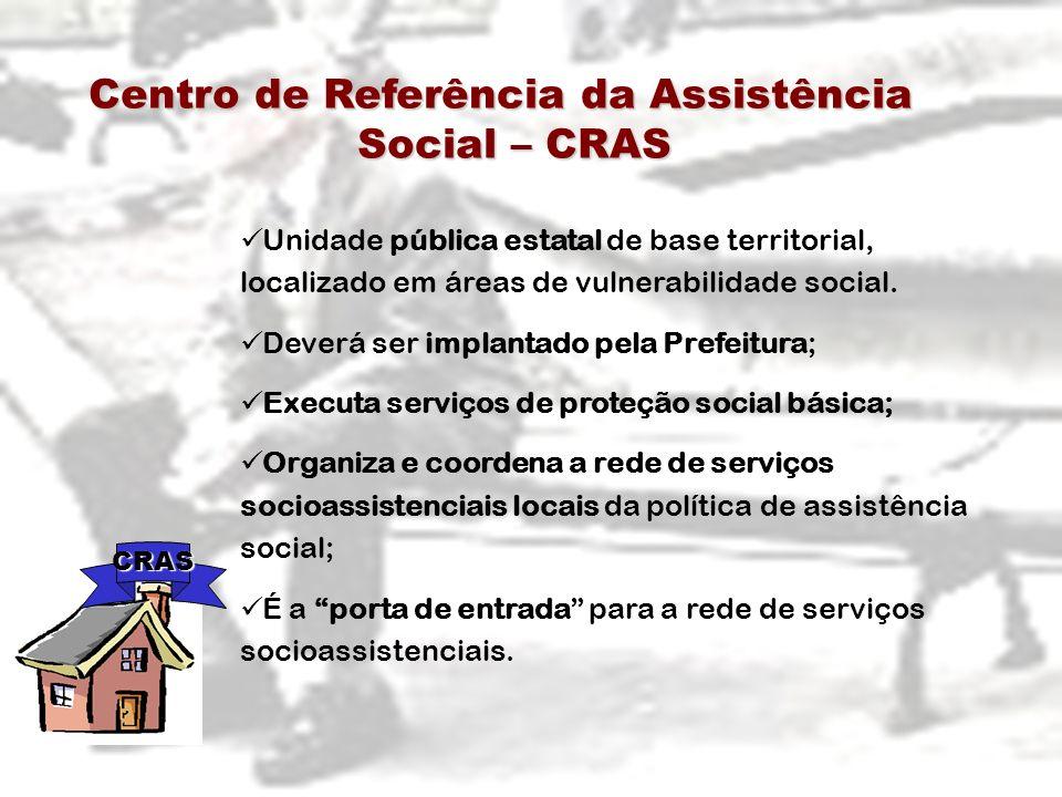 Centro de Referência da Assistência Social – CRAS Centro de Referência da Assistência Social – CRAS Unidade pública estatal de base territorial, local