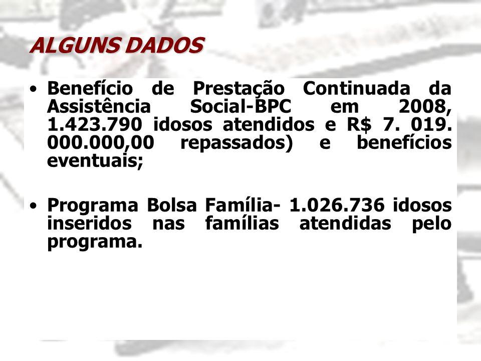 ALGUNS DADOS Benefício de Prestação Continuada da Assistência Social-BPC em 2008, 1.423.790 idosos atendidos e R$ 7. 019. 000.000,00 repassados) e ben