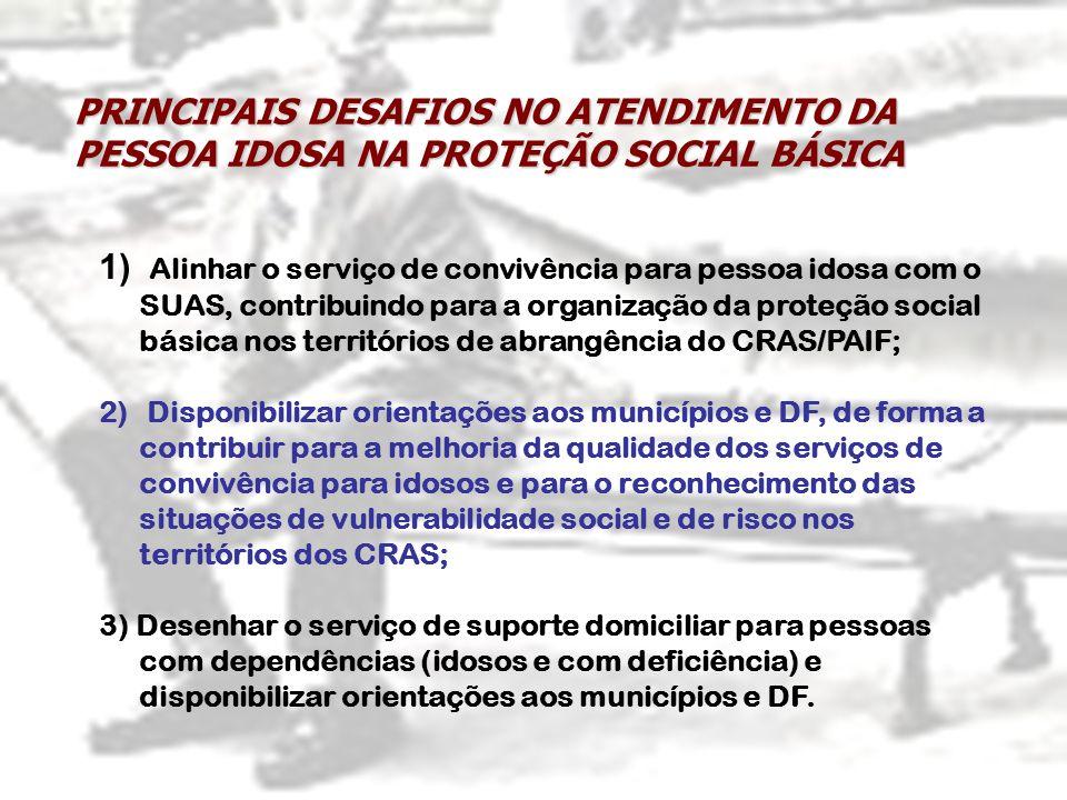 1) Alinhar o serviço de convivência para pessoa idosa com o SUAS, contribuindo para a organização da proteção social básica nos territórios de abrangê