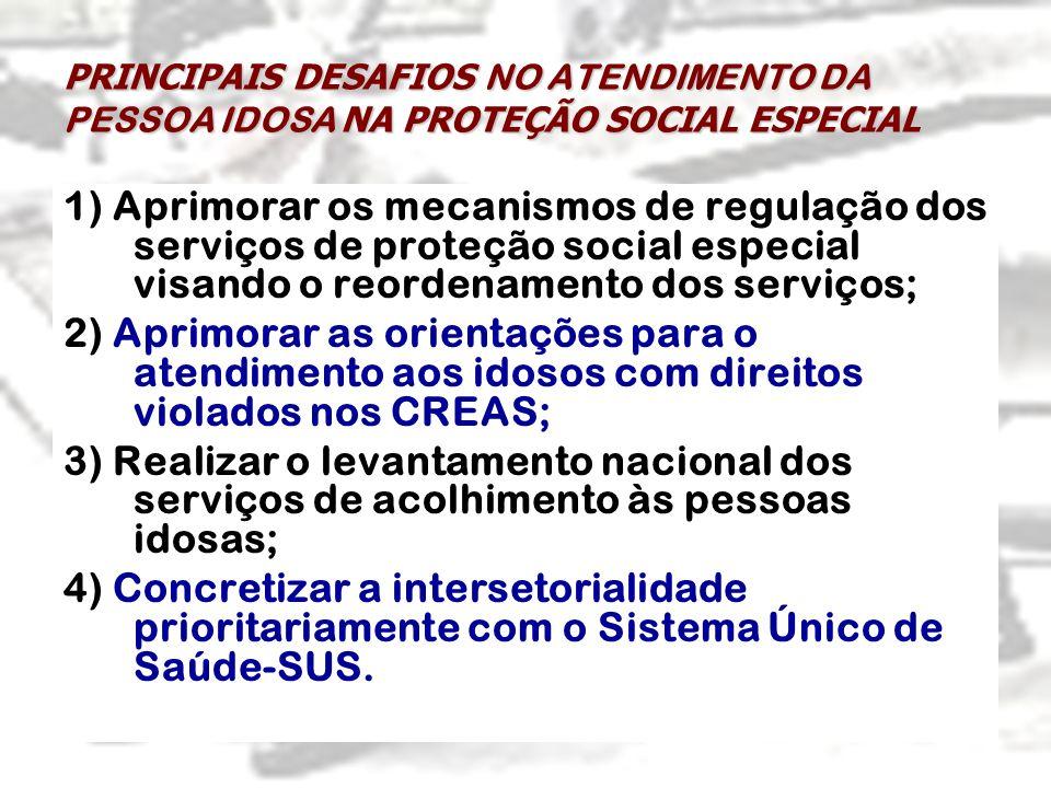PRINCIPAIS DESAFIOS NO ATENDIMENTO DA PESSOA IDOSA NA PROTEÇÃO SOCIAL ESPECIAL 1) Aprimorar os mecanismos de regulação dos serviços de proteção social