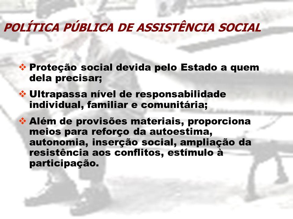 Proteção social devida pelo Estado a quem dela precisar; Ultrapassa nível de responsabilidade individual, familiar e comunitária; Além de provisões ma