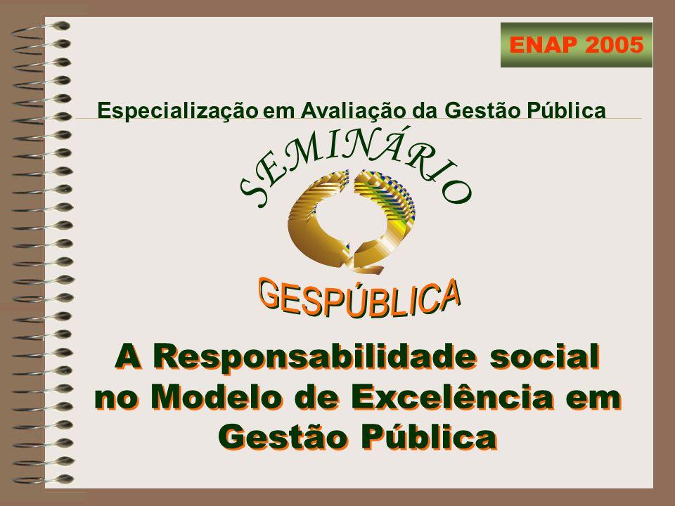 Especialização em Avaliação da Gestão Pública ENAP 2005 A Responsabilidade social no Modelo de Excelência em Gestão Pública A Responsabilidade social