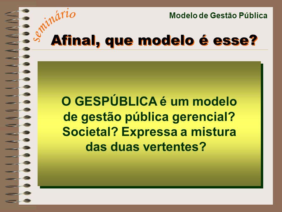 Modelo de Gestão Pública O GESPÚBLICA é um modelo de gestão pública gerencial? Societal? Expressa a mistura das duas vertentes? O GESPÚBLICA é um mode