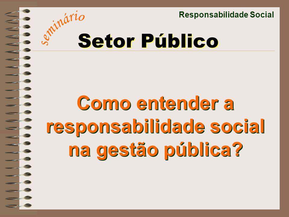Responsabilidade Social Como entender a responsabilidade social na gestão pública? Como entender a responsabilidade social na gestão pública? Setor Pú