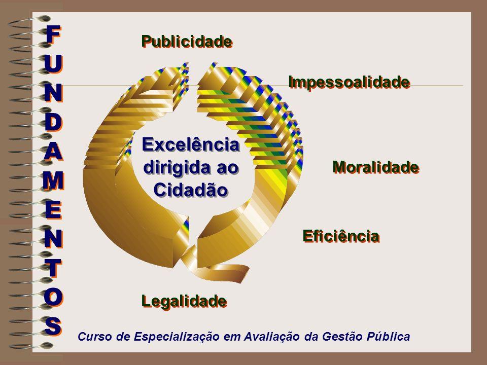 Excelência dirigida ao Cidadão FUNDAMENTOSFUNDAMENTOS FUNDAMENTOSFUNDAMENTOS Publicidade Impessoalidade Moralidade Eficiência Legalidade Curso de Espe