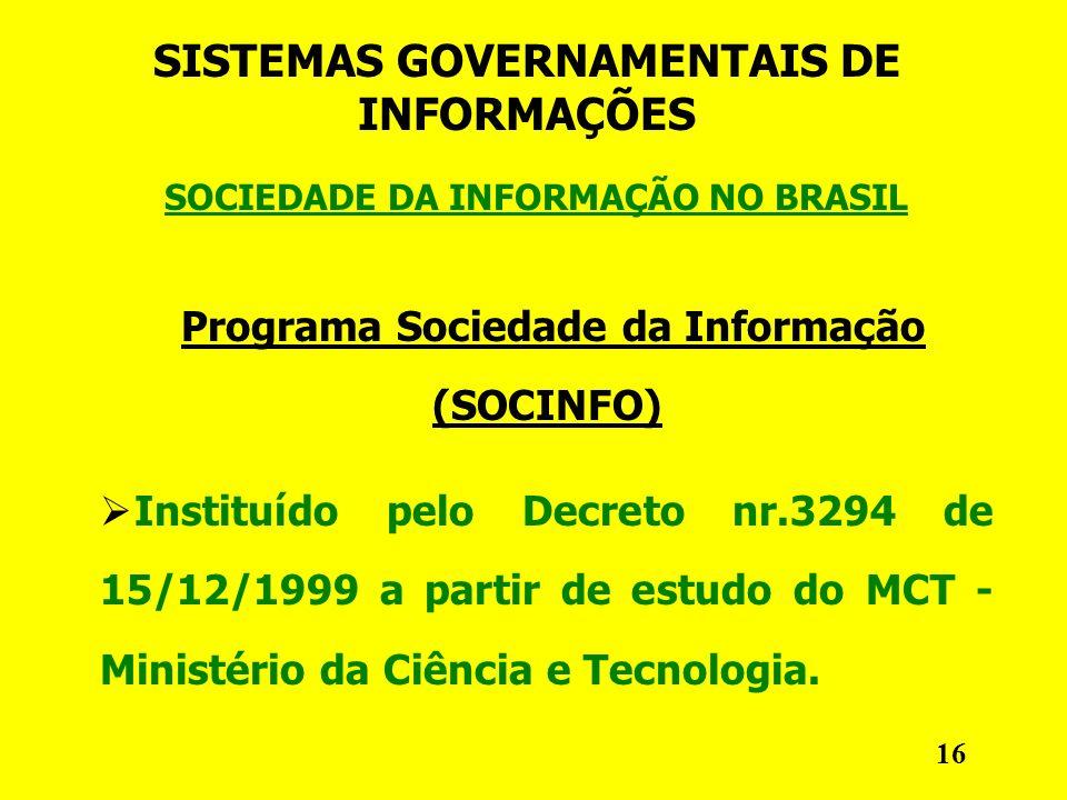 SOCIEDADE DA INFORMAÇÃO NO BRASIL SISTEMAS GOVERNAMENTAIS DE INFORMAÇÕES Programa Sociedade da Informação (SOCINFO) Instituído pelo Decreto nr.3294 de 15/12/1999 a partir de estudo do MCT - Ministério da Ciência e Tecnologia.