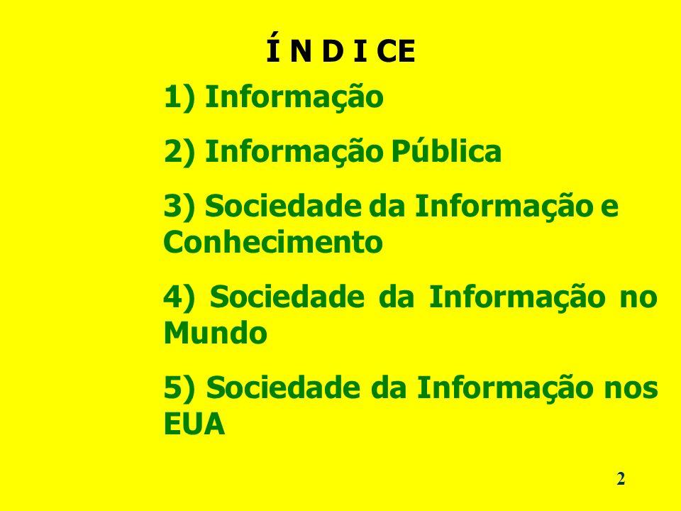 2 Í N D I CE 1) Informação 2) Informação Pública 3) Sociedade da Informação e Conhecimento 4) Sociedade da Informação no Mundo 5) Sociedade da Informação nos EUA