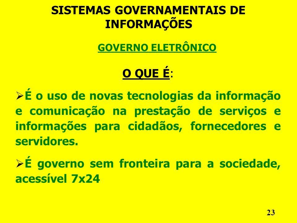 GOVERNO ELETRÔNICO SISTEMAS GOVERNAMENTAIS DE INFORMAÇÕES 23 O QUE É: É o uso de novas tecnologias da informação e comunicação na prestação de serviços e informações para cidadãos, fornecedores e servidores.